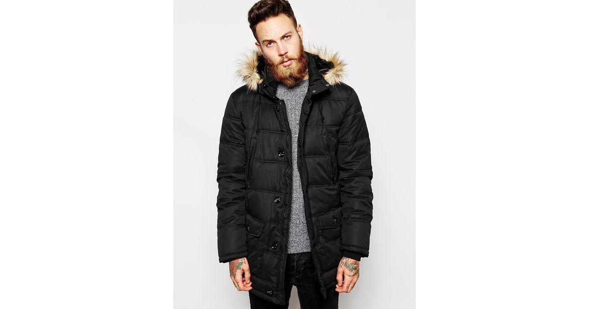 Asos Quilted Parka Jacket in Black for Men | Lyst : quilted parka jacket - Adamdwight.com