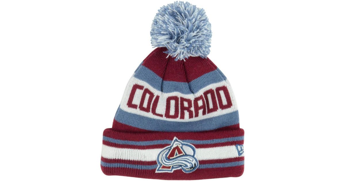 4af6c739ef931 low price lyst ktz kids colorado avalanche jacob pom knit hat in purple  a9680 e76a2