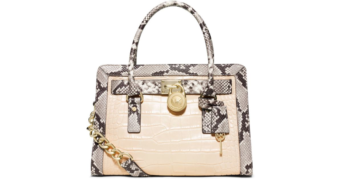 60bc354db866 Lyst - Michael Kors Hamilton Two-tone Embossed-leather Satchel in Natural