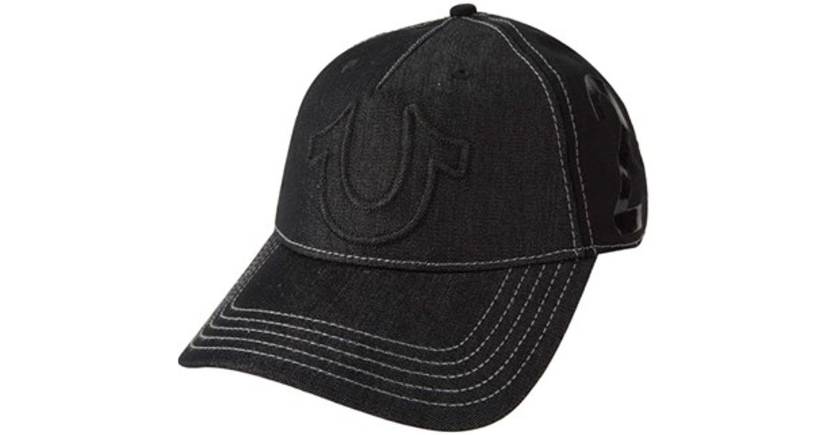 188e63060e True Religion  raised Horseshoe  Baseball Cap in Black for Men - Lyst