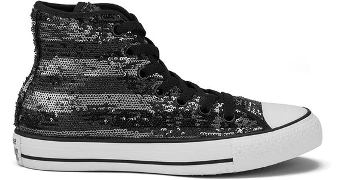 f0389aea1ab6 Converse Women s Chuck Taylor All Star Sequin Flag Hi-top Trainers in Black  - Lyst