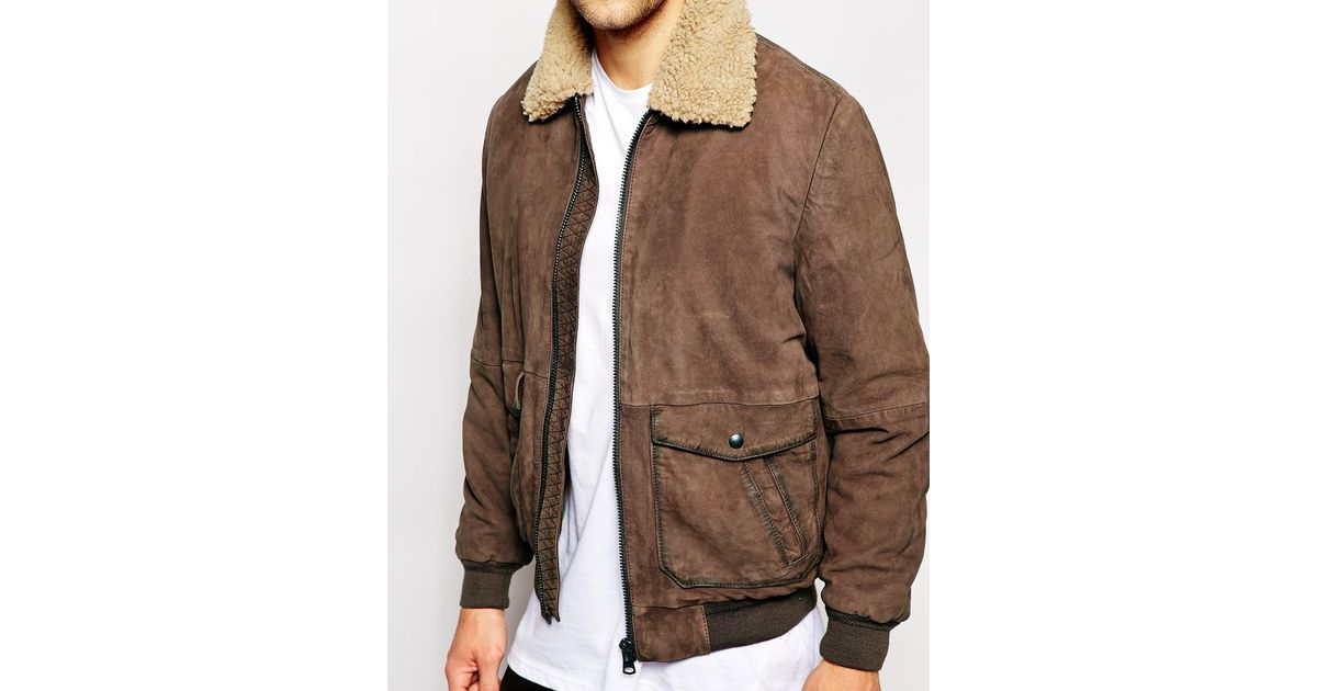1a452122248c Lyst - Wrangler Leather Bomber Jacket Sherpa Collar in Brown for Men
