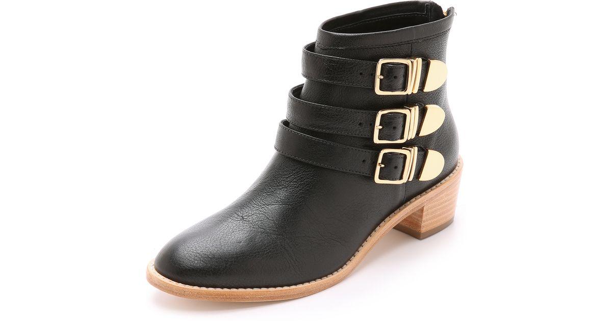 loeffler randall fenton buckle booties in black lyst