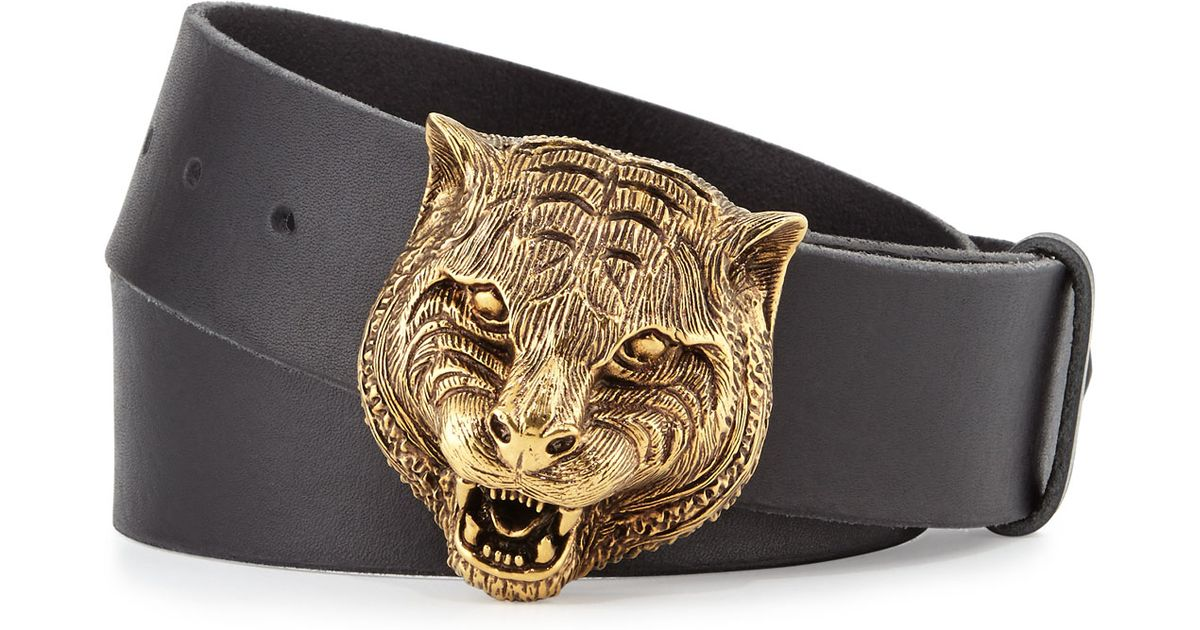 0f6832252d5 Lyst - Gucci Men s Leather Belt With Tiger Buckle in Black for Men