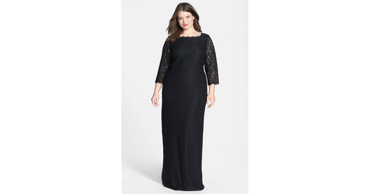 Lyst - Adrianna Papell Scalloped Lace Gown in Black