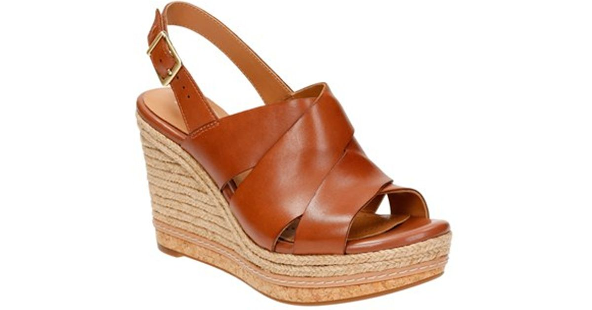 5abbaa9e83316 Lyst - Clarks Amelia Daily Wedge Sandals in Brown