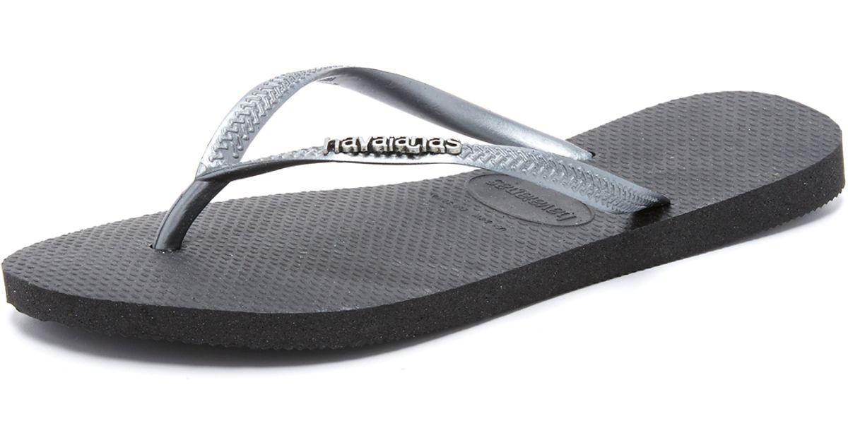 Havaianas Slim Logo Metallic Flip Flops In Black - Lyst-7464