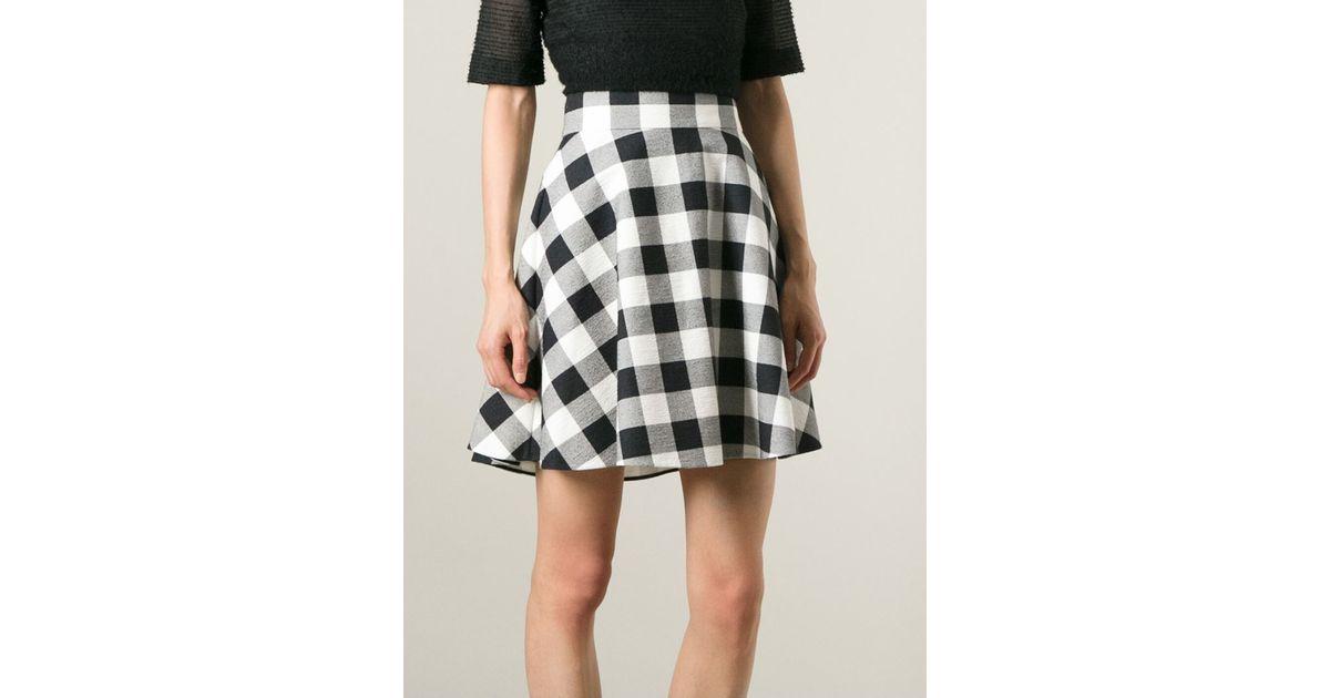 Dolce & gabbana Checkered A-Line Skirt in White | Lyst