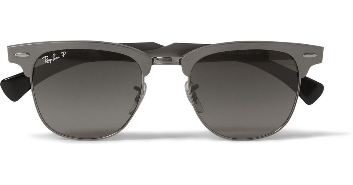 059ab41488 Lyst - Ray-Ban Clubmaster Aluminium Sunglasses in Gray for Men