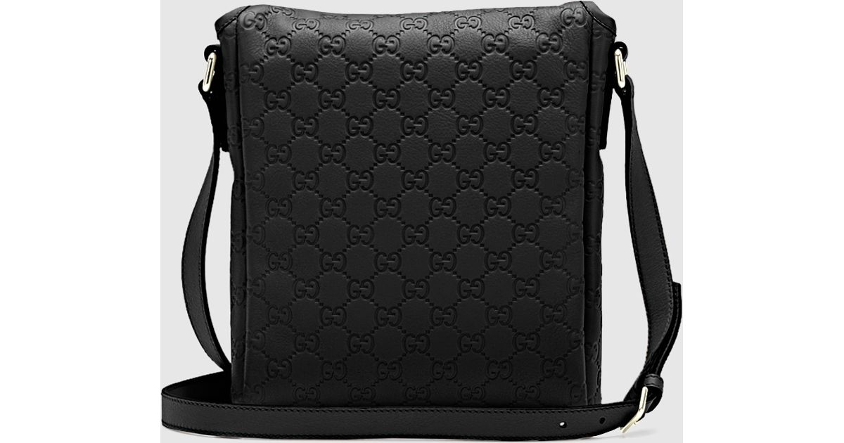 7504e7604 Gucci Black Ssima Leather Messenger Bag in Black for Men - Lyst