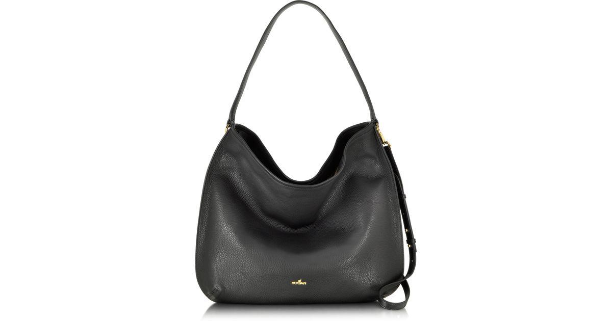 933bc7ae76c94 Hogan New Print Large Leather Hobo Bag in Black - Lyst