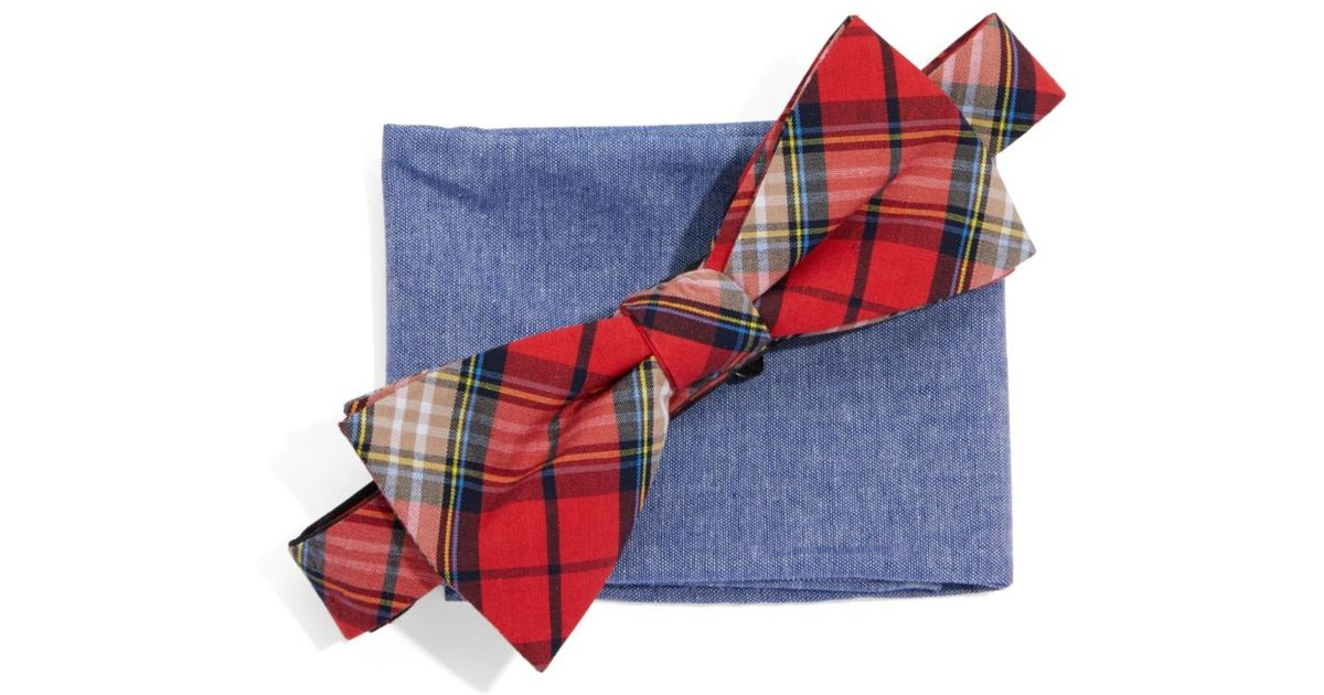 3a6094fab93e Original Penguin Bow Tie And Pocket Square Set in Red for Men - Lyst