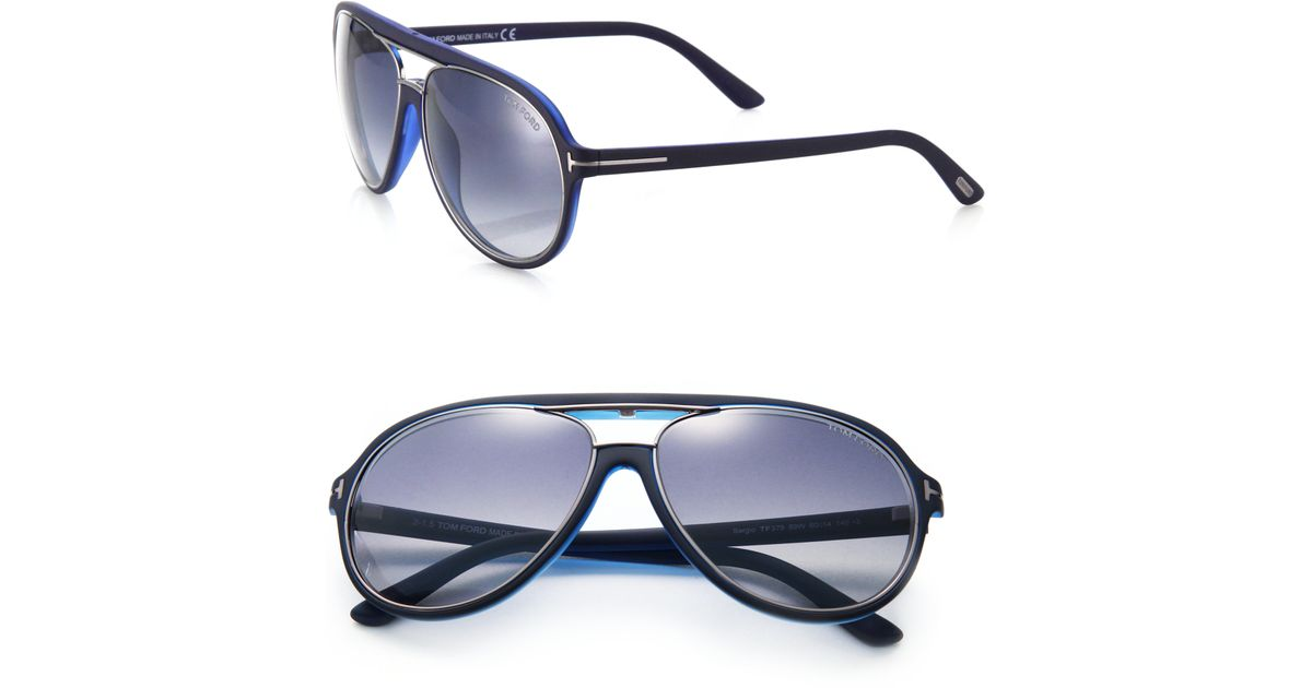 4563c9a5583d Lyst - Tom Ford Sergio 60mm Aviator Sunglasses in Blue for Men