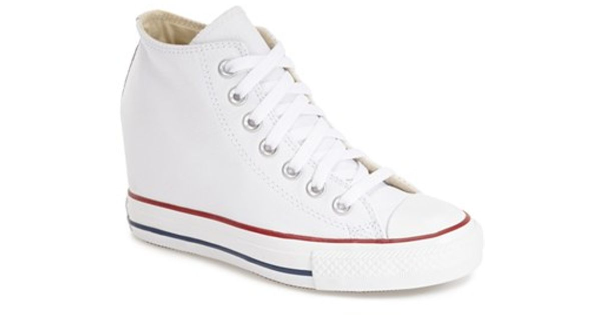 Lyst - Converse Chuck Taylor All Star  lux  Hidden Wedge High Top Sneaker  in White 87724c564