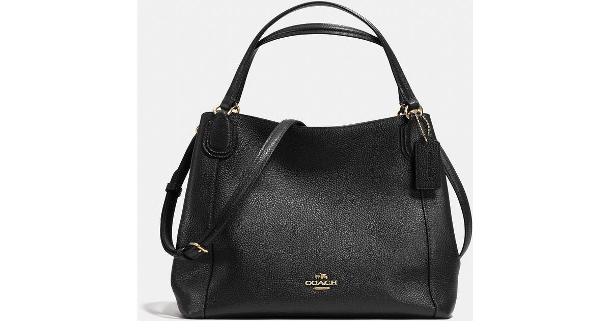 a3499a3a1de0b Lyst - COACH Edie Shoulder Bag 28 In Pebble Leather in Black