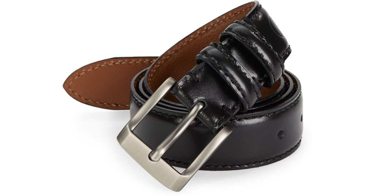 maker company stitched leather belt in black for lyst