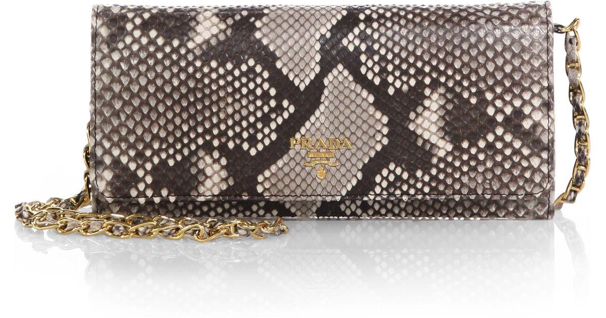 Prada Python Chain Wallet in Animal (ROCCIA) | Lyst