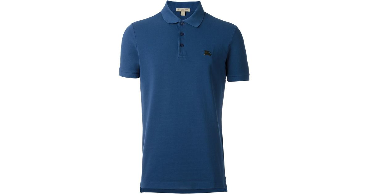 Burberry Brit Logo Polo Shirt In Blue For Men Lyst