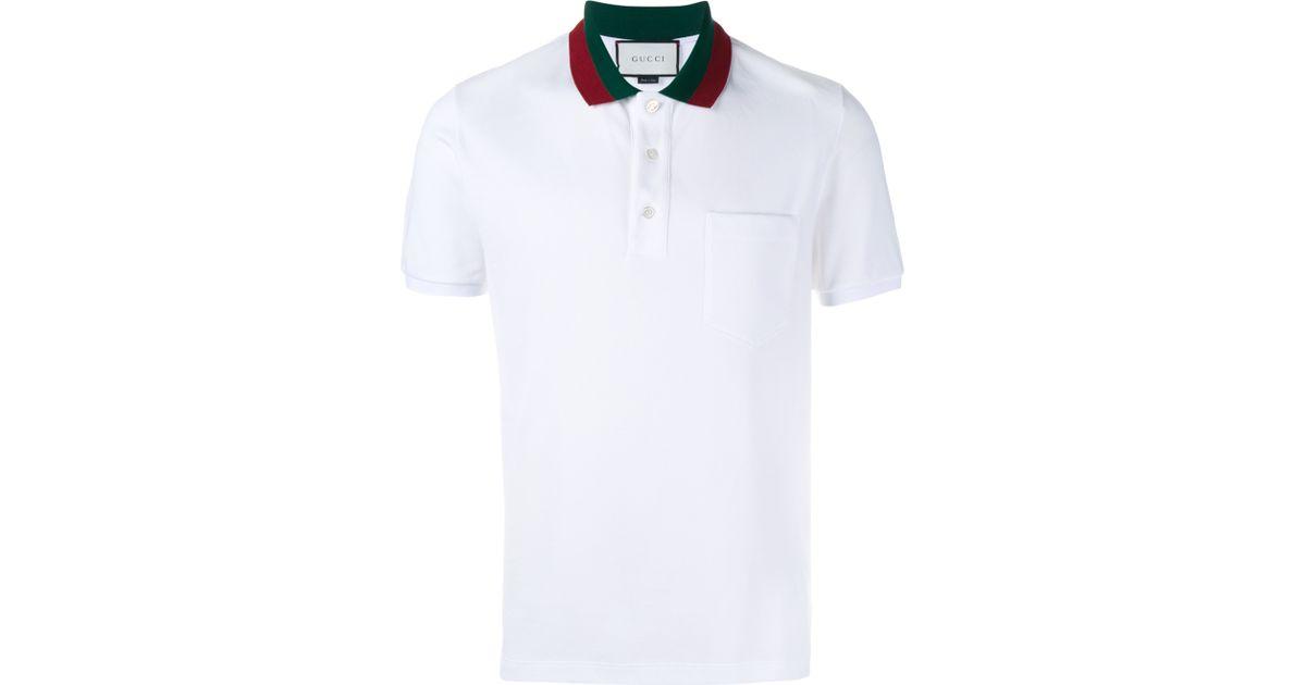 fcc1cbb3c Gucci Striped Collar Polo T-shirt in White for Men - Lyst