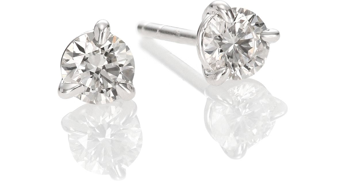 round prong four gold studs view top white diamond platinum stud earrings