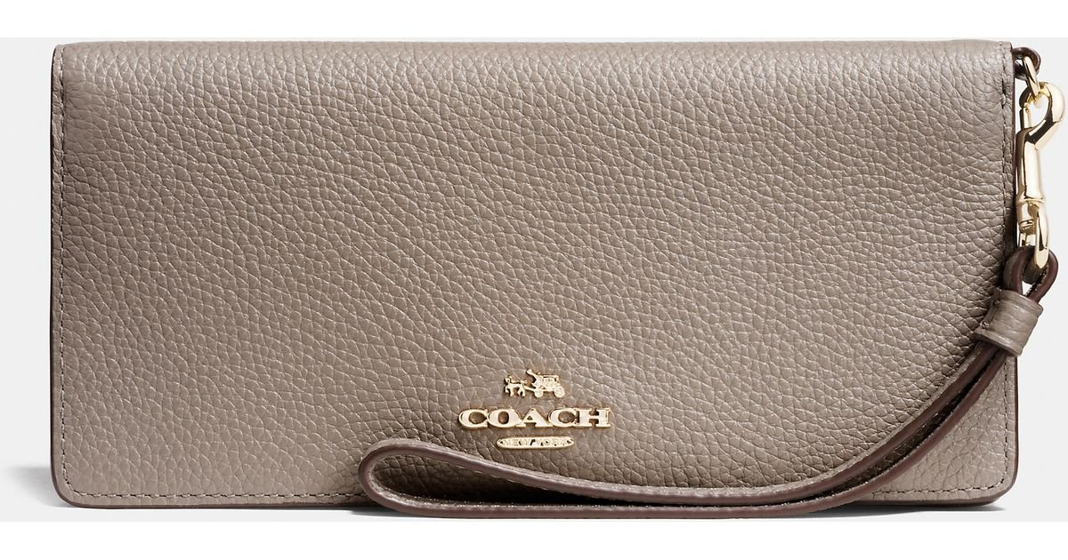 f8ce170bac741 Lyst - COACH Slim Wallet In Colorblock Leather in Metallic