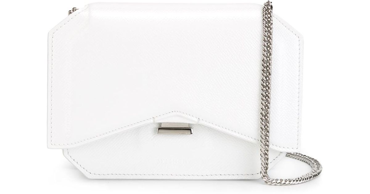 Lyst - Givenchy Bow Cut Leather Cross-Body Bag in White fe3dd01ea2732