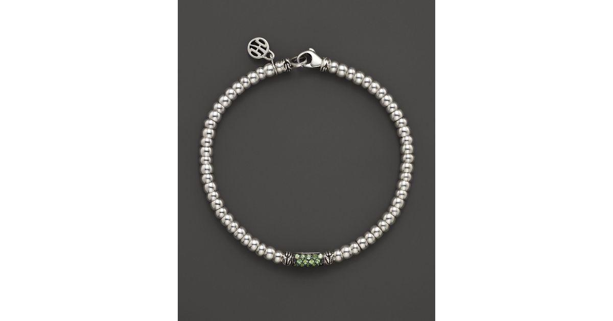 Lyst John Hardy Bedeg Silver Lava Beaded Bracelet With Tsavorite In Metallic