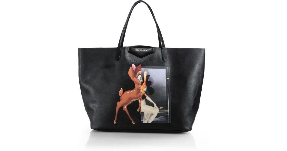 7f1a6dc705 Lyst - Givenchy Bambi Medium Leather Shopper Tote in Black
