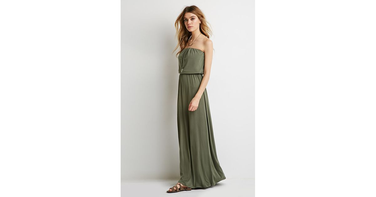 b2d3b1ed561 Forever 21 Strapless Maxi Dress in Green - Lyst