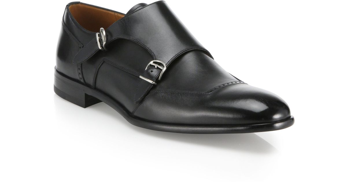 Bally Double Monk Strap Leather Shoes In Black For Men Lyst