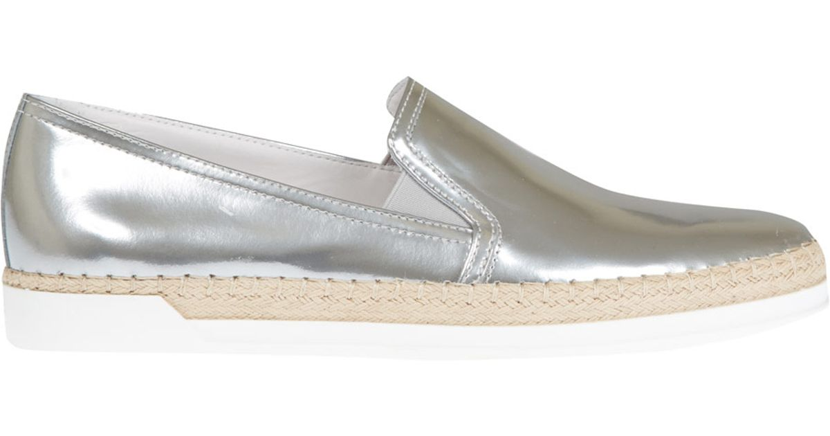 1507b72abd0 Lyst - Tod s Silver Gomma Raffia Leather Slip-On Shoes in Metallic