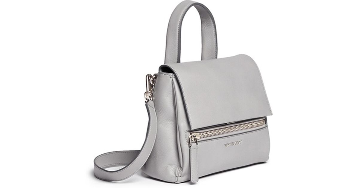 b748963d17d Givenchy 'pandora Pure' Mini Leather Flap Bag in Gray - Lyst
