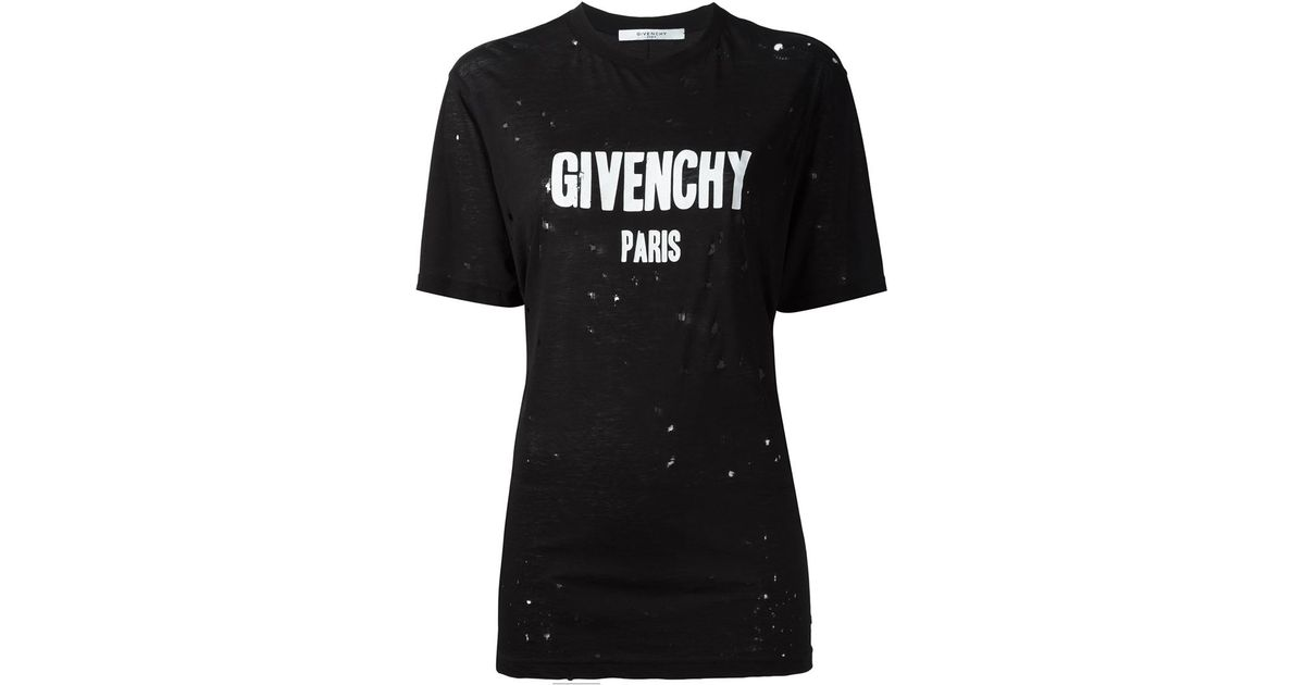 Givenchy distressed logo t shirt in black lyst for Givenchy t shirts for sale