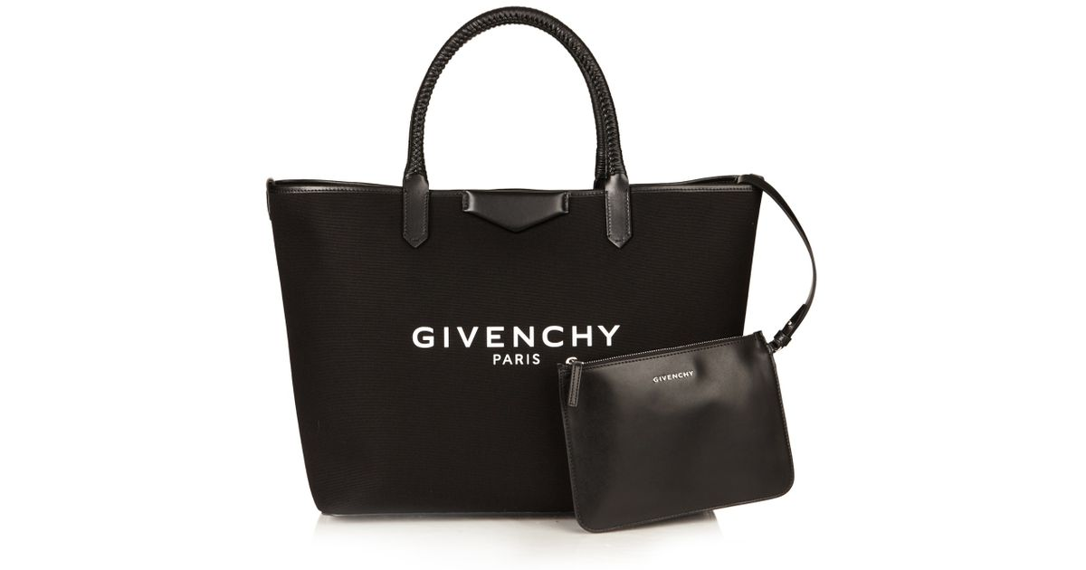 Lyst - Givenchy Antigona Large Canvas Tote in Black 1bc1d076707ed