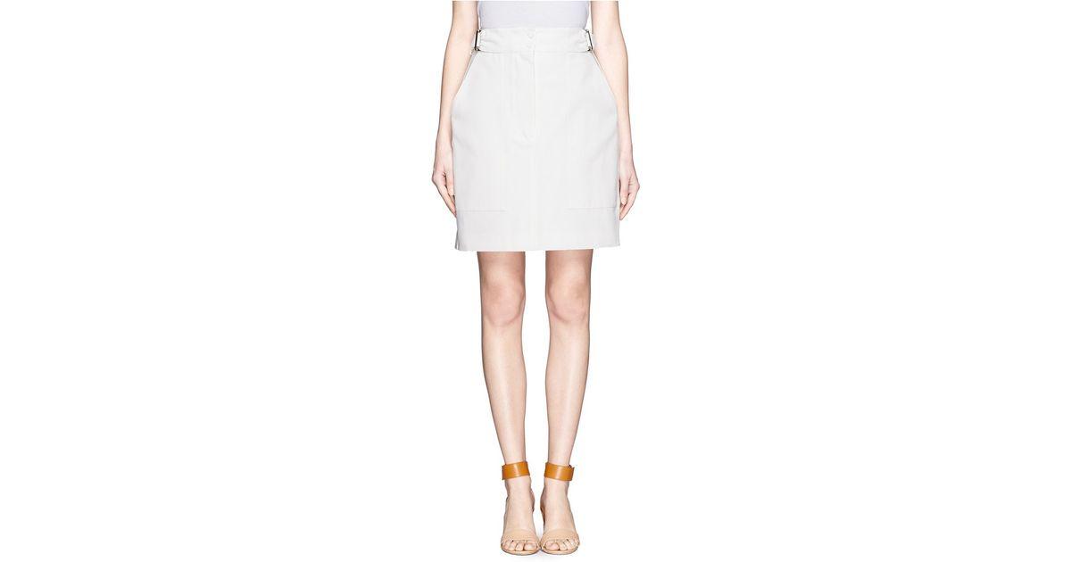 6b7c5e413fa62 Lyst - Alexander McQueen Flounce Back Large Pocket Skirt in White