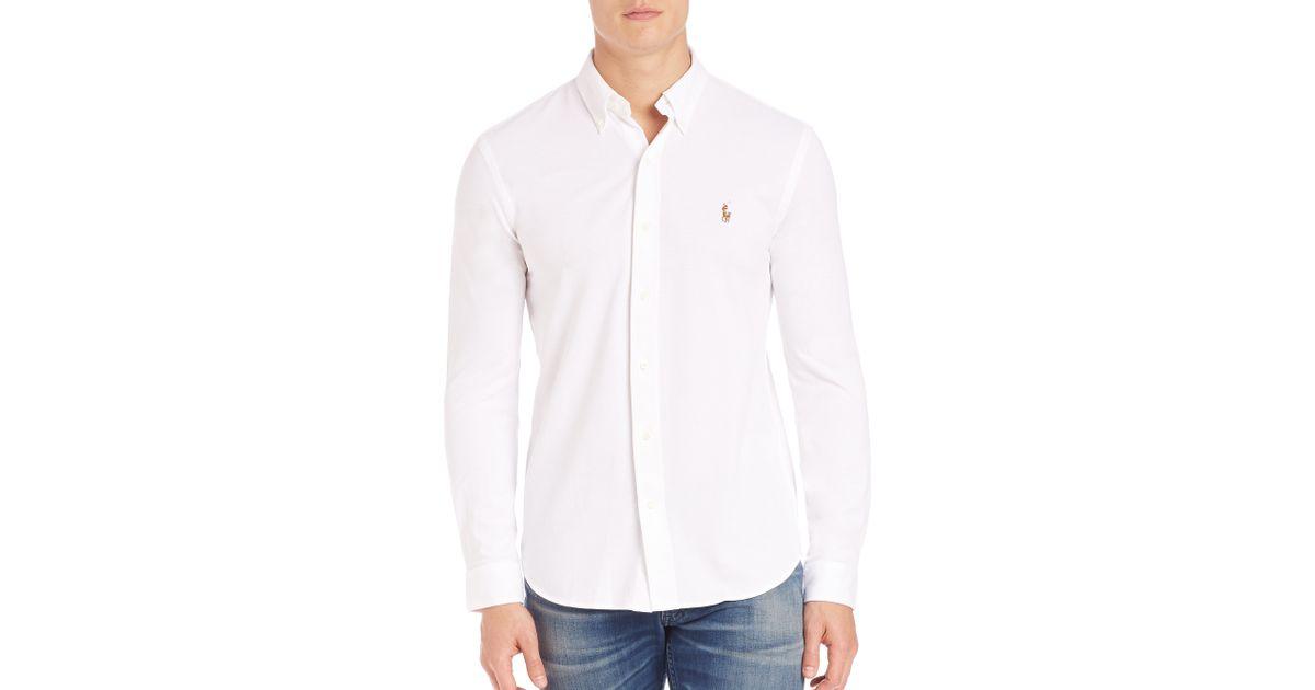 Polo ralph lauren knit oxford shirt in white for men lyst for White oxford shirt mens