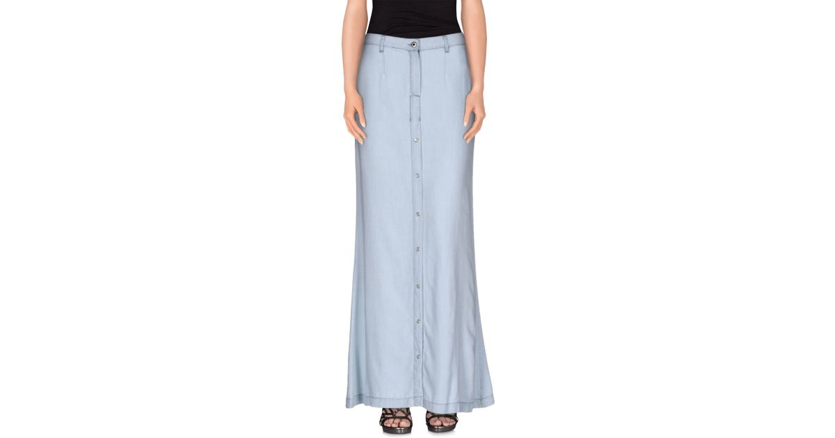 info for 88444 c9eb4 Patrizia Pepe - Blue Denim Skirt - Lyst