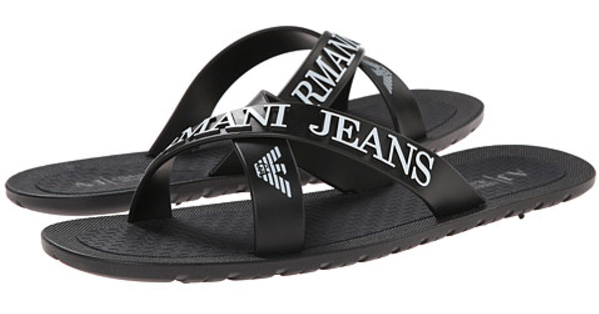 f75abfa569369 Lyst - Armani Jeans Criss-Cross Sandal in Black for Men
