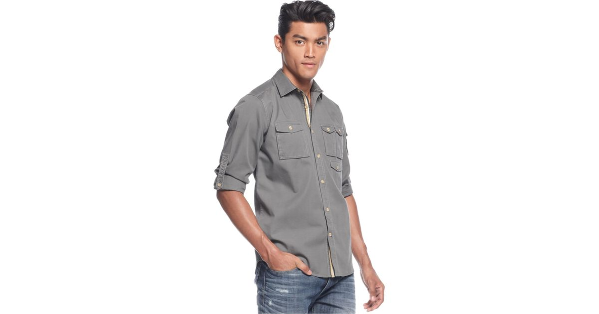 Sean john big and tall solid flight shirt in gray for men for Big and tall rock t shirts