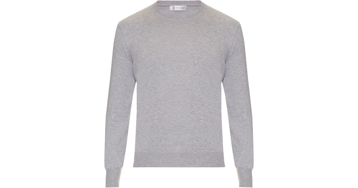 bed635995f Lyst - Brunello Cucinelli Elbow-patch Cotton Sweater in Gray for Men