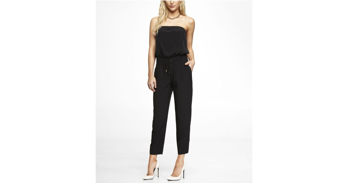 0ce6824741d9 Lyst - Express Strapless Track Pant Jumpsuit in Black