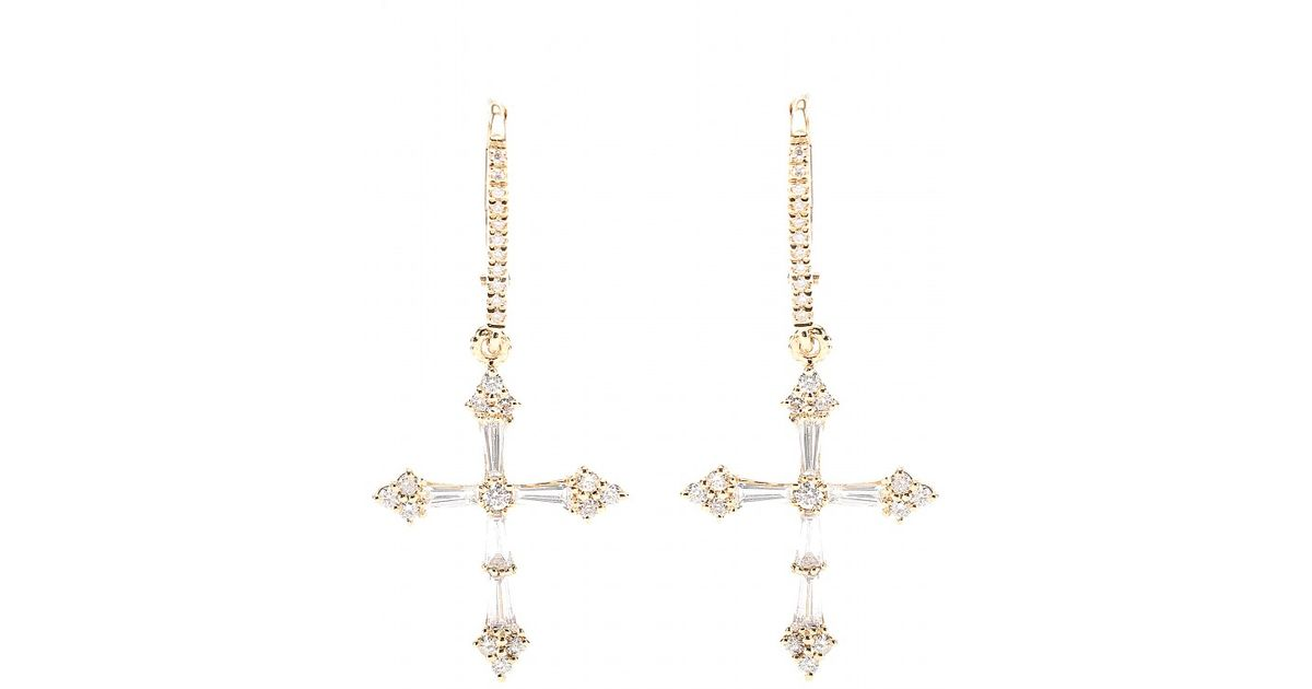 Lyst Stone Heaven 18kt Gold Cross Earrings With White Diamonds In Metallic