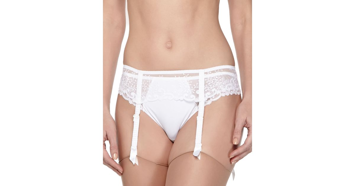 a11019d8315 Lyst - Simone Perele Delice Embroidered Garter Belt in White