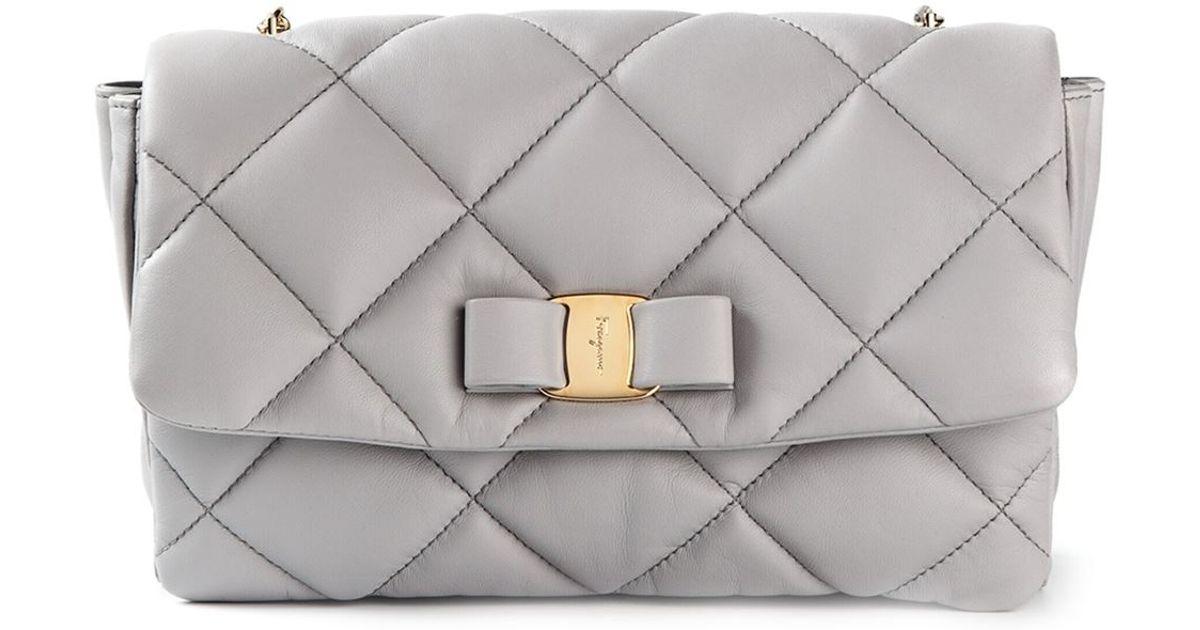 f11263c1125b Lyst - Ferragamo  Gelly  Quilted Shoulder Bag in Gray