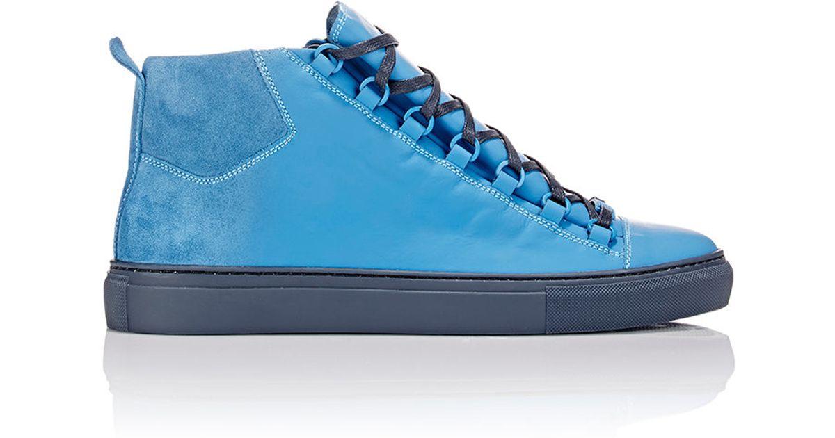 Balenciaga Sprayed Suede Arena High Top Sneakers In Blue