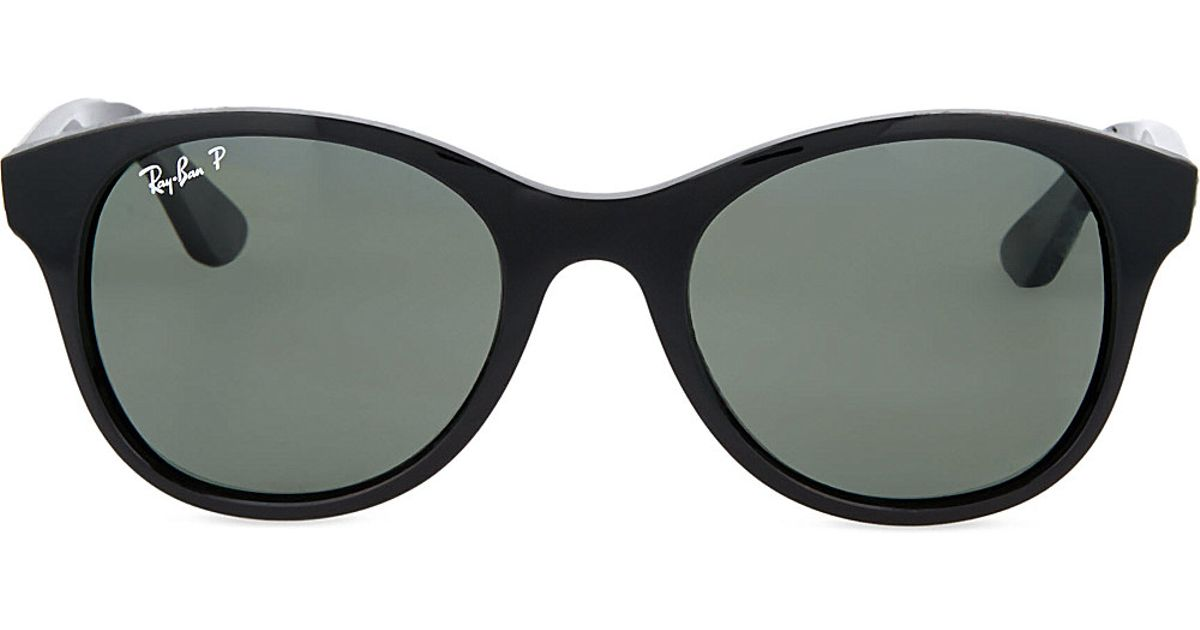 79c8f09192 Ray-Ban Round Sunglasses In Black With Polarised Black Lenses Rb4203 51 in  Black for Men - Lyst
