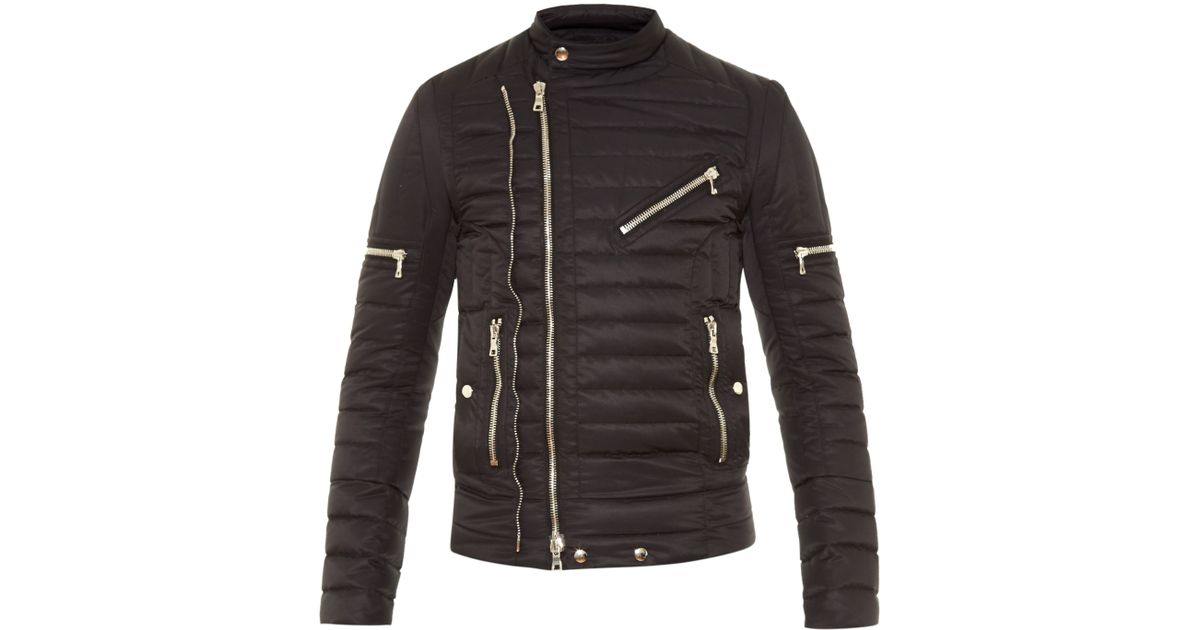 b162f295f019 Lyst - Balmain Quilted Down Biker Jacket in Black for Men