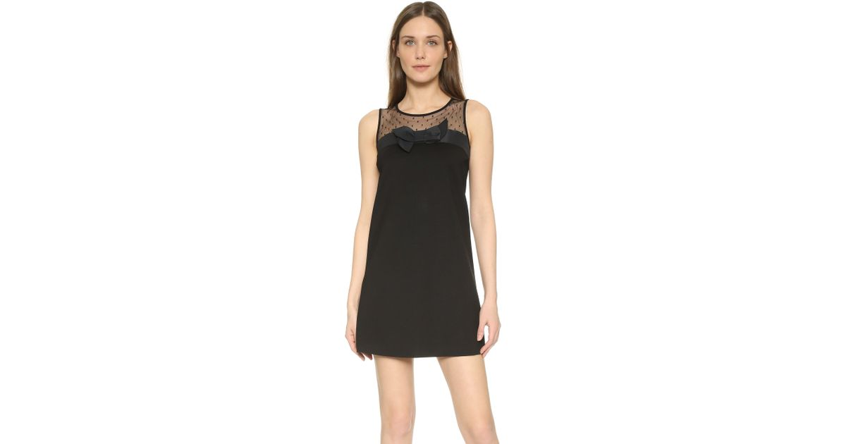 Lyst Red Valentino Tank Dress With Bow Detail In Black