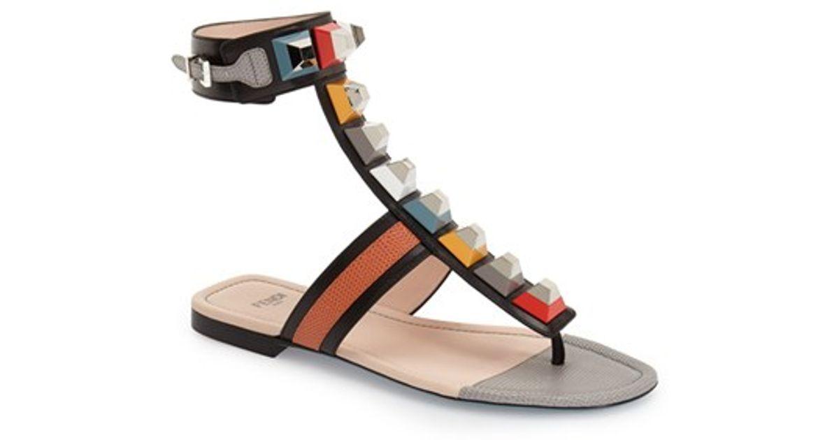 4d2c37ecb1a0 Lyst - Fendi  rainbow  Studded Colorblock Gladiator Sandal