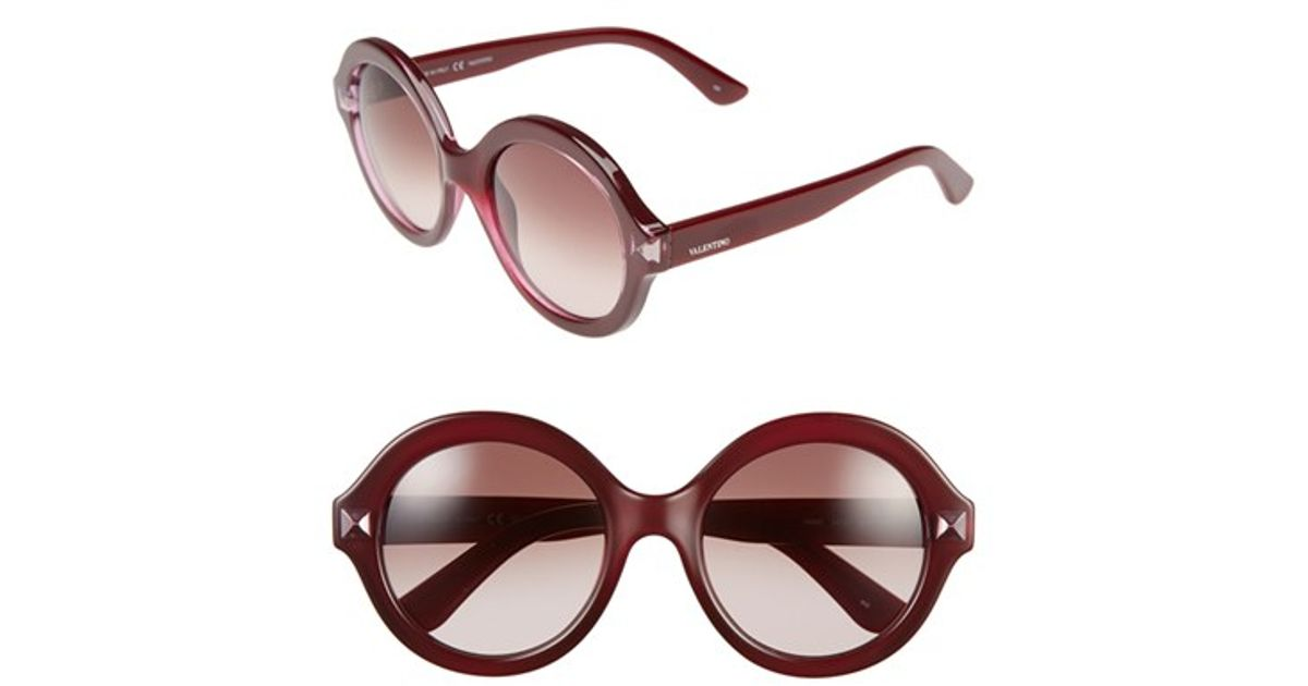 335d3e9a6002e Valentino 'floating Rockstud' 54mm Round Sunglasses - Bordeaux in Red - Lyst